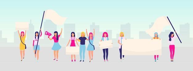 Frauenermächtigung protestieren flache illustration. feministische demonstration, konzept der frauenpower-bewegung. feminismus, schutz der frauenrechte. weibliche aktivistinnen halten leere plakate zeichentrickfiguren