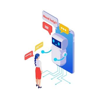 Frauenfigur im gespräch mit lächelndem smartphone-chatbot 3d isometrisch