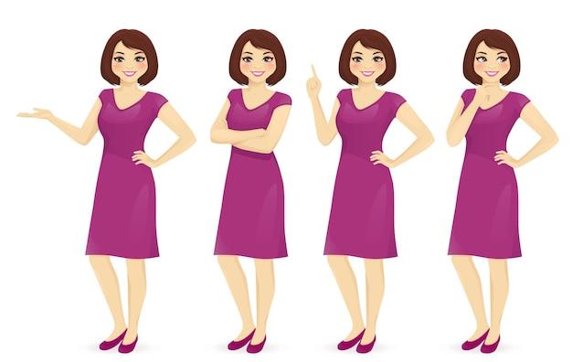 Frauenfigur im kleid mit verschiedenen gesten