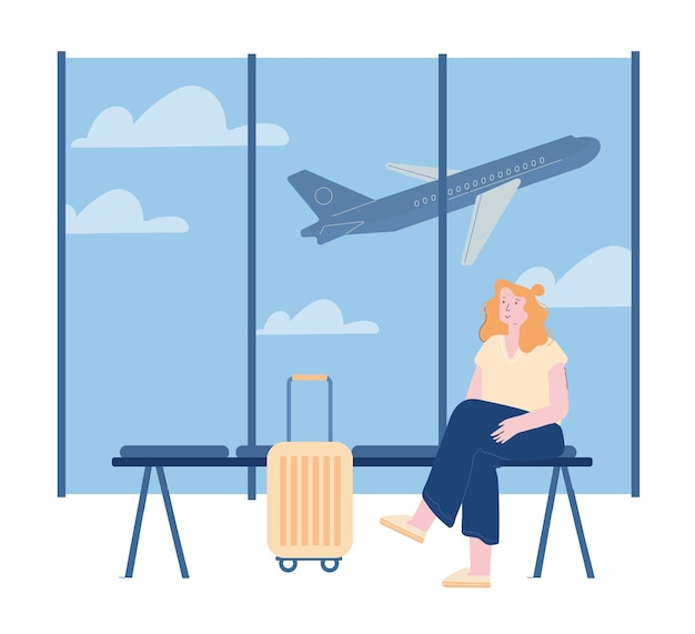 Frauenfigur mit gepäck, das flug wartet