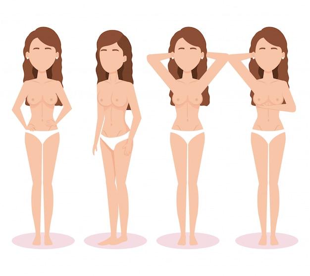Frauenfiguren mit brustkrebstest