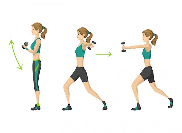 Frauenfitness. aerobe fitness mit hantel trainieren. aktives und gesundes lebenskonzept
