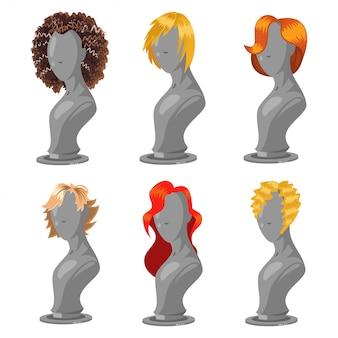 Frauenfrisur auf modemannequin. weiblicher perückenkarikatursatz lokalisiert auf einem weiß.