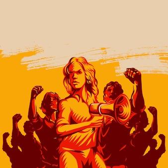 Frauenführer vor einer menge, die megaphon hält