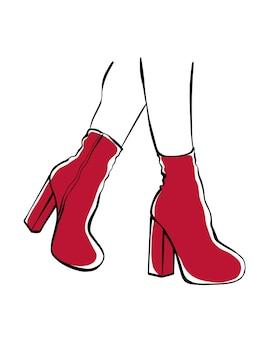 Frauenfüße in roten stiefeln. modeillustration.