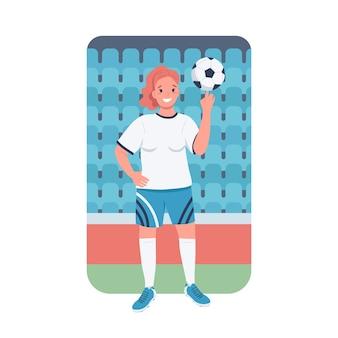 Frauenfußballer flache farbe detaillierter charakter. frauensport. geschlechtergleichheit. weiblicher fußballspieler bei der meisterschaft isolierte karikaturillustration für webgrafikdesign und -animation