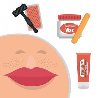 Frauengesicht mit haarabbauelementen