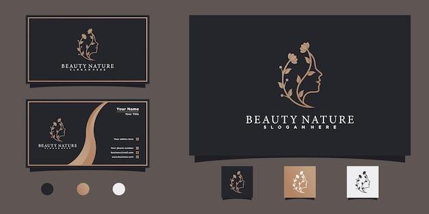 Frauengesichts-logo-design mit kreativem blumenlinien-kunststil und visitenkarten-design premium vekto