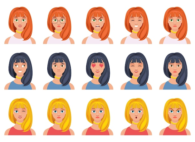 Frauengesichtsausdruck-designillustration lokalisiert