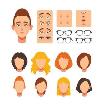 Frauengesichtskonstruktor, gesichtselemente für den bau kaukasischer weiblicher charakter avatar, köpfe blond, braun und ingwer frisur, nase, augen mit augenbrauen, lippen. cartoon-vektor-illustration, set