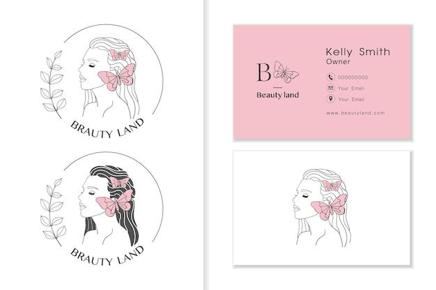 Frauengesichtslogo mit schmetterling, weiblichen logo-sammlungen und visitenkartenschablone