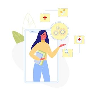 Frauengriff-bücher stehen auf schirm enormem smartphone