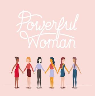 Frauengruppe charaktere mit feministischer botschaft