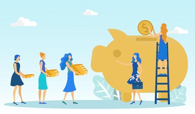 Frauengruppe, die geld bringt, um in sparschwein zu setzen