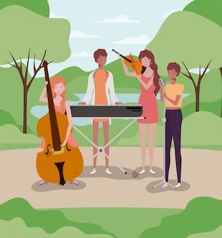 Frauengruppe, die instrumente im lager spielt