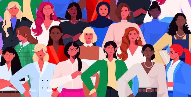 Frauengruppe feiert internationale illustration zum 8. märz zum frauentag