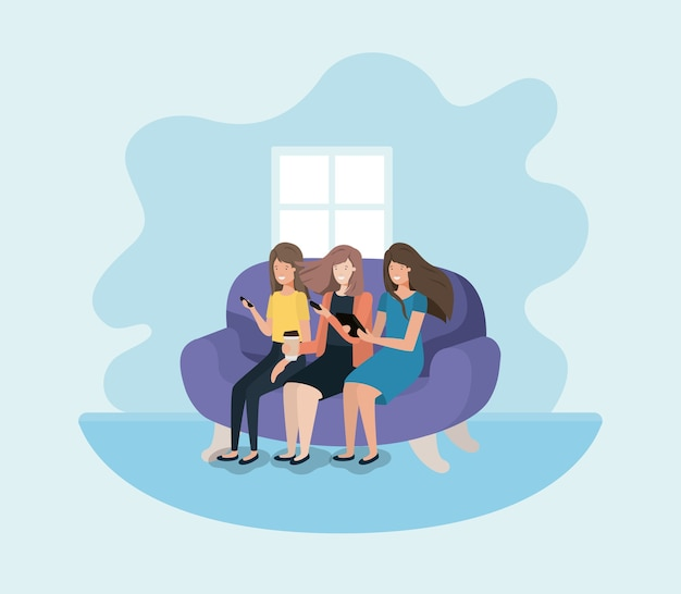 Frauengruppe im wohnzimmer unter verwendung der technologie