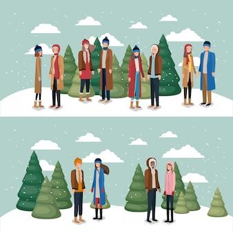 Frauengruppe in der schneelandschaft mit winterkleidung