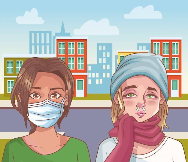 Frauengruppe mit coronavirus-szene