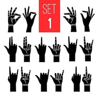 Frauenhände gestikuliert schwarze schattenbildikonen, die auf weiß gesetzt werden
