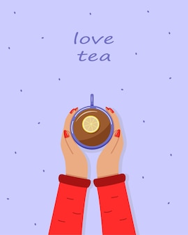 Frauenhände halten eine tasse heißen tee mit zitrone. ansicht von oben. vektor-illustration.