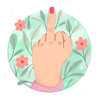 Frauenhand, die das fick dich symbol zeigt