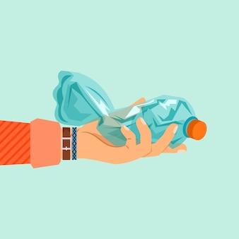 Frauenhand, die defekte plastikflasche hält