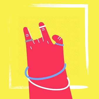 Frauenhand, die felsen-geste zeigt
