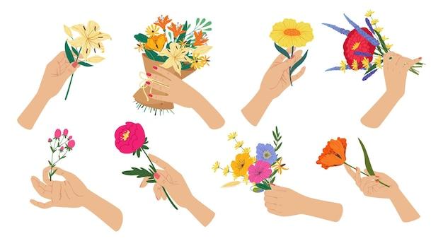 Frauenhand, die frühlingsblumenstrauß romantisch hält, präsentiert blumenvektorsatz