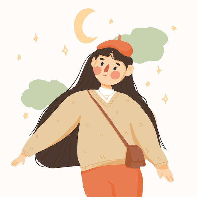 Frauenhand gezeichnete illustration