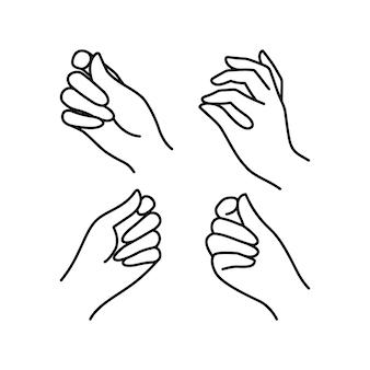 Frauenhand-symbol-sammlungslinie. vektor-illustration von eleganten weiblichen händen verschiedener gesten. lineart im trendigen minimalistischen stil.