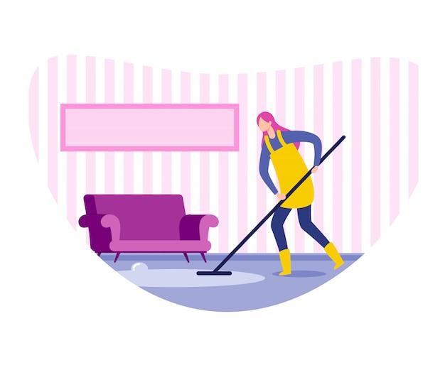 Frauenhaushälterin, reinigungsfirma-arbeitskraft, die boden säubert und wäscht