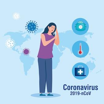 Frauenhusten und weltkarte mit coronavirus-partikeln