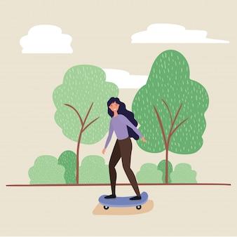 Frauenkarikatur auf skateboard am park