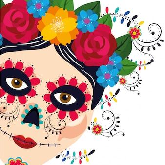 Frauenkarikatur der mexikanischen kultur
