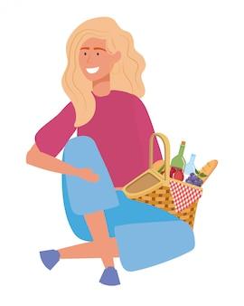 Frauenkarikatur, die picknick hat