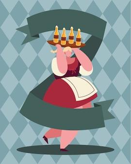 Frauenkarikatur mit bierflaschenentwurf, oktoberfestdeutschfest und feierthema