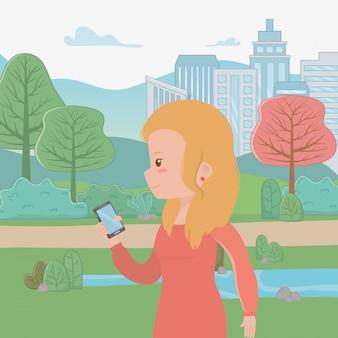 Frauenkarikatur mit smartphone