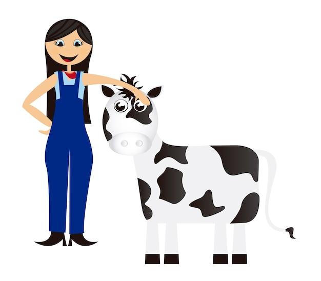 Frauenkarikaturbauer mit kuh lokalisierte hintergrundvektor