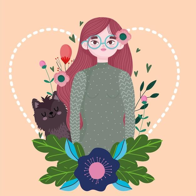Frauenkarikaturkatzenblumen verlässt natur, haustierkonzeptillustration