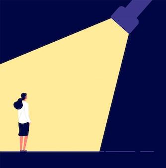 Frauenkarrierekonzept. talentierte frau im rampenlicht karrieremöglichkeiten.