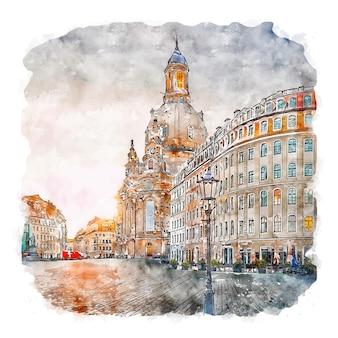 Frauenkirche dresden deutschland aquarellskizze handgezeichnete illustration