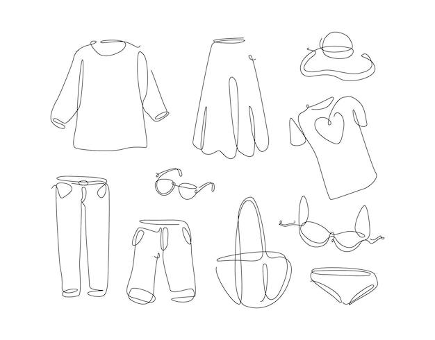 Frauenkleidung im einfachen strichzeichnungsstil ein durchgehendes kleidungsset