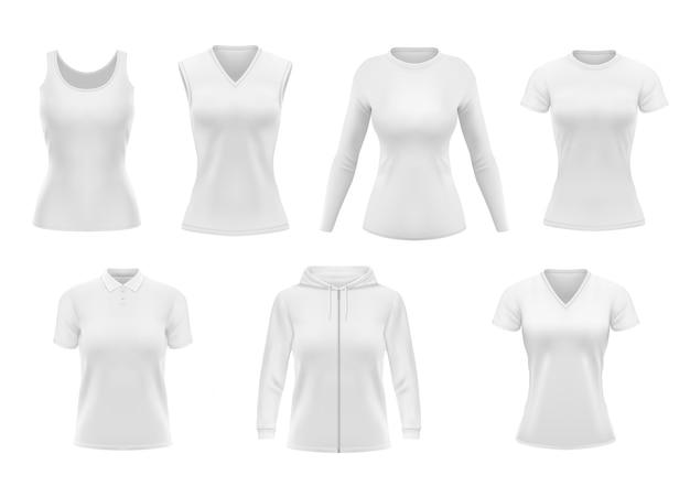 Frauenkleidung t-shirt, hoodie und poloshirt mit unterhemd und langarmkleidung. realistisches weibliches kleidungsstück, weiße unterwäscheschablone. leere kleidung, outfit-objekte gesetzt