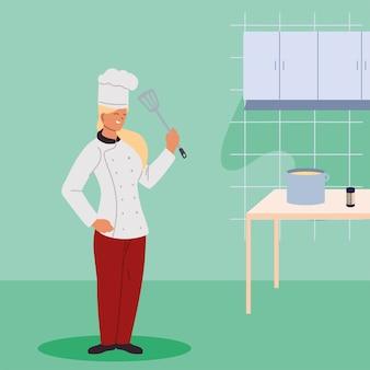 Frauenkoch mit elementen des küchenillustrationsdesigns