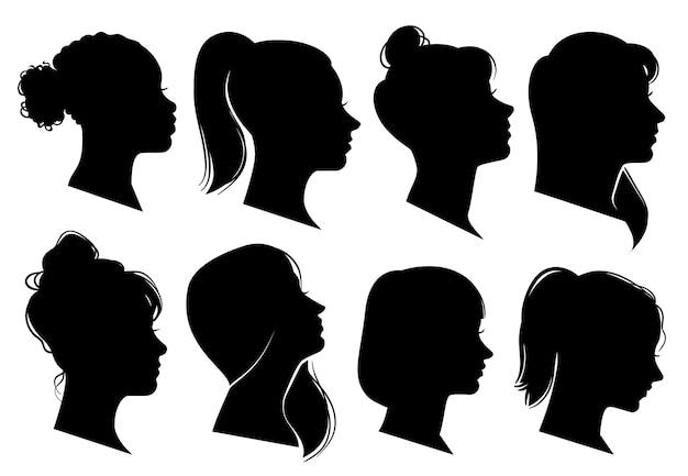 Frauenköpfe im profil lokalisiert auf weiß