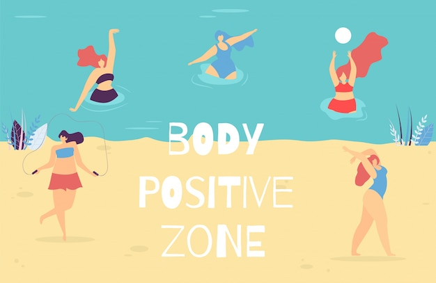 Frauenkörper-positive zonen-motivtext-fahne