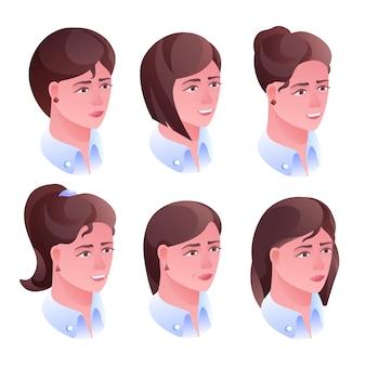 Frauenkopf-frisurenillustration für friseursalon- oder avataraprofil in den sozialen netzen