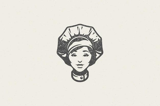 Frauenkopf in der traditionellen chefkappenschattenbildarbeit in der hand gezeichneten stempeleffekt der küchenhand