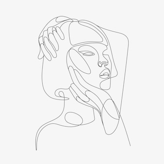 Frauenkopf lineart illustration one line style drawing
